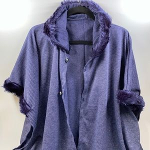 Jackets & Blazers - Blue Hooded Pancho with Fur
